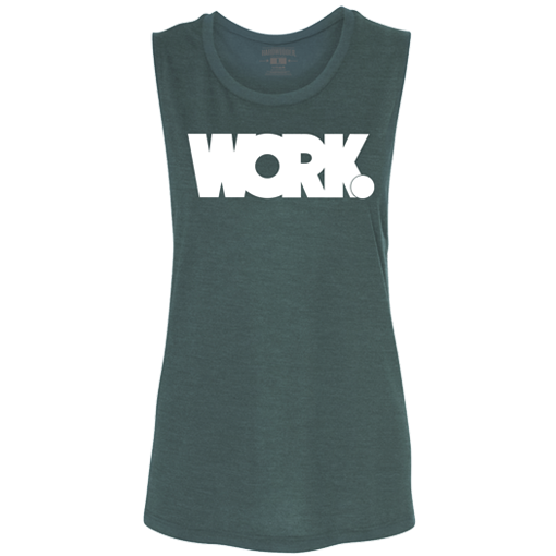 HardWodder Verbs Work Women's Muscle Tank In Deep Teal Slub